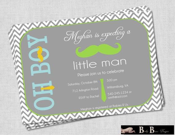 Little Man Moustache & Tie Boy Baby Shower Invitation (gray)