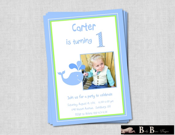 Whale Birthday Party Invitation (Blue & Green)- Printable
