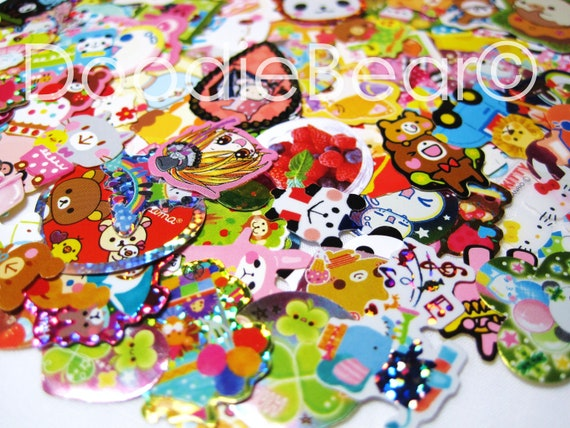 Kawaii Sticker Flakes, Kawaii Stickers, Kawaii Supply, Sticker Flakes, Kawaii Stationery, Cute Stickers, Small Stickers, 100 Pieces