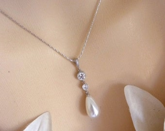Bridal Necklace - White Oblong Teardrop Pearl with Multi Round Cubic Zirconia Drops Necklace in White Gold Plated Chain