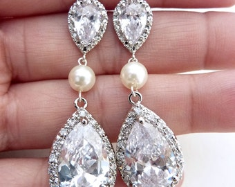 Bridal Earring - LARGE White Clear Peardrop Cubic Zirconia, Round Ivory Pearl  with White Gold Plated Peardrop Cubic Zirconia Post Earring