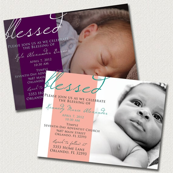 Baby Dedication Blessing Christening Invitation Boy Or Girl