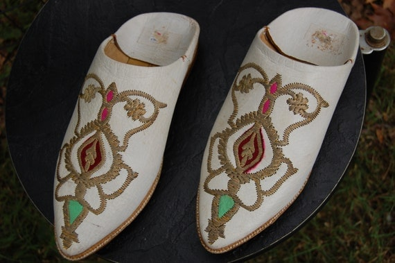 Genuine Vintage Morrocan Leather Shoes Slippers