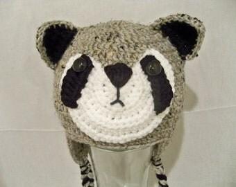 Crocheted Baby Raccoon  Boys or Girls  Beanie