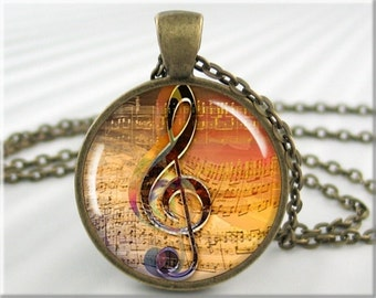 Treble Clef Pendant Musician Musical Staff Note Necklace Picture Jewelry (150RB)