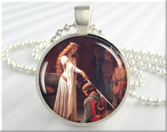 Leighton Accolade Pendant, Resin Charm, Edmund Leighton The Accolade, Art Necklace, Resin Jewelry, History Lover Gift, Round Silver (301RS)