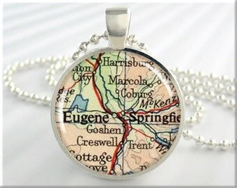 Eugene Map Pendant, Resin Charm, Eugene Oregon Map Necklace, Picture Jewelry, Map Charm, Round Silver, Gift Under 20 (346RS)