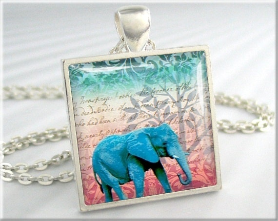 Elephant Necklace Art Pendant Jewelry African Pachyderm Collage Charm (107SS)