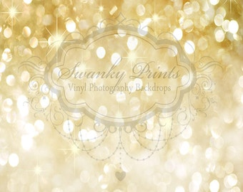 7ft x 6ft GOLD Bokeh GLITTER HOLIDAY Vinyl Backdrop / Custom Photo Prop