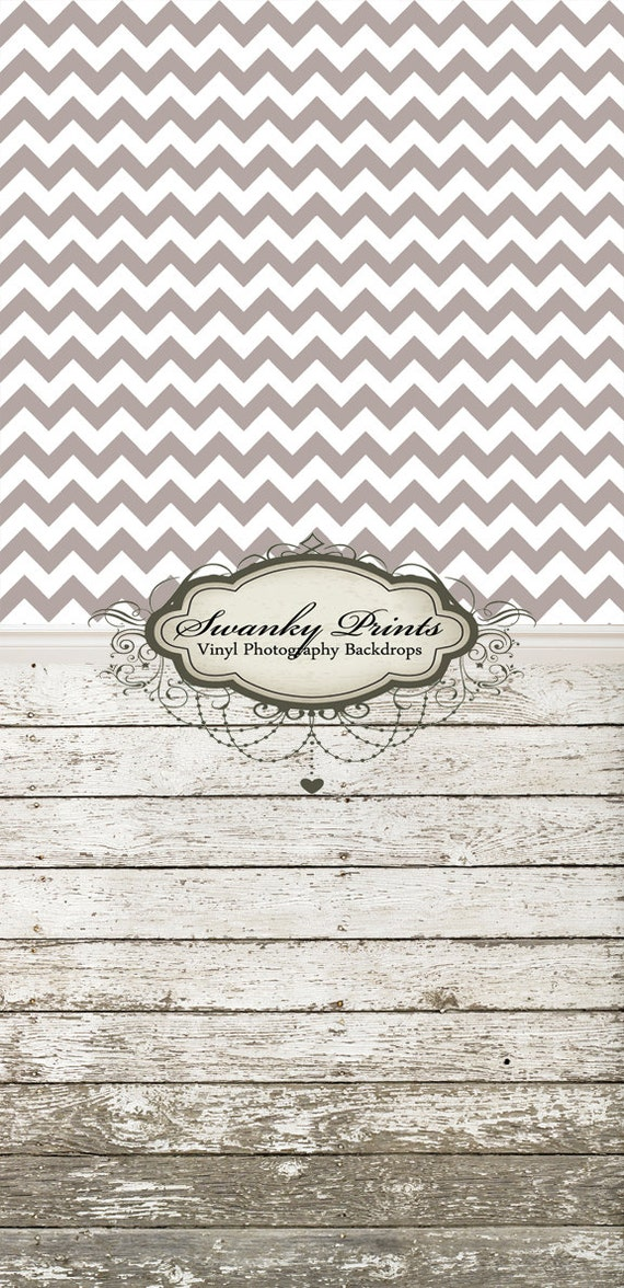 "ALL In ONE 48"" x  99""(backdrop, floordrop & baseboard) Small Print Gray Chevron and Barn Wood"