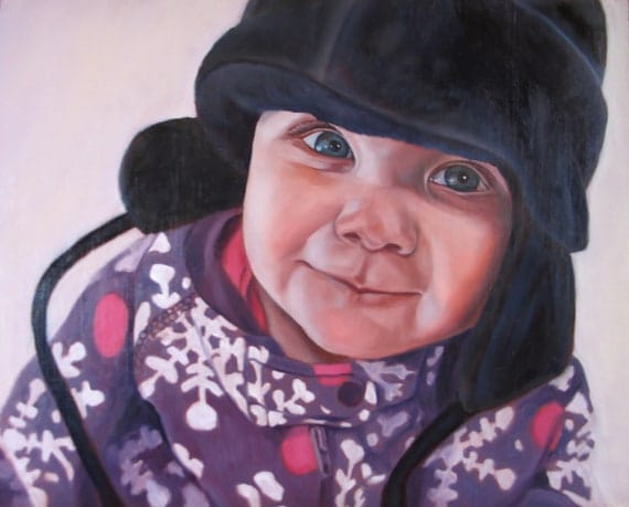 Personalized Art from Photo - Baby Portrait - Custom Oil Painting - Amazing Gift Idea - 8x10