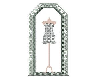 Little Black Dress cross stitch chart blackwork pattern, party dress, cocktail dress