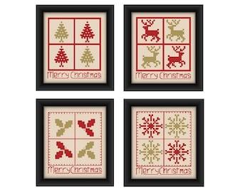 Christmas cross stitch pattern set, Christmas card patterns,