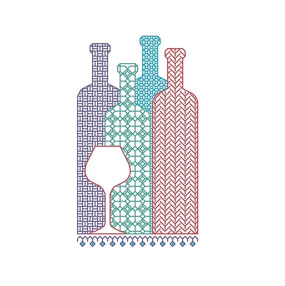 BLACKWORK pattern, wine bottles, bottle selection, wine glass PDF chart