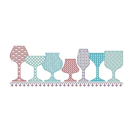 BLACKWORK pattern, wine glass, glasses, glass selection, PDF chart