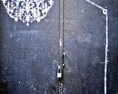 Chandelier Graffiti, Street Art, Black and White, 12 x 18 Photo