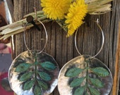 Beautiful Large Silver & Patina or Verdigris Tree of Life or Leaf Hoop Earrings. Great Bridesmaid Gift.