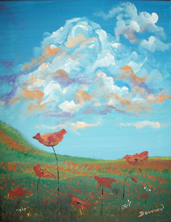 """Contemporary Floral Painting """"Poppies"""""""