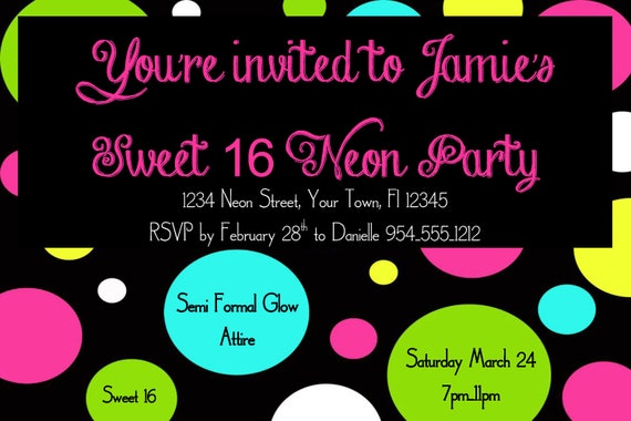 Neon Sweet 16 Birthday Invitation Template 4x6