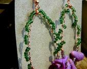 Hoop earrings with purple polymer clay roses