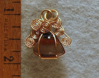 Agate Eye Angel Pendant in Gold Filled Wire Number 4 of 500