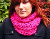 Women's Cowl Chunky Bright Pink Crochet Winter Accessory