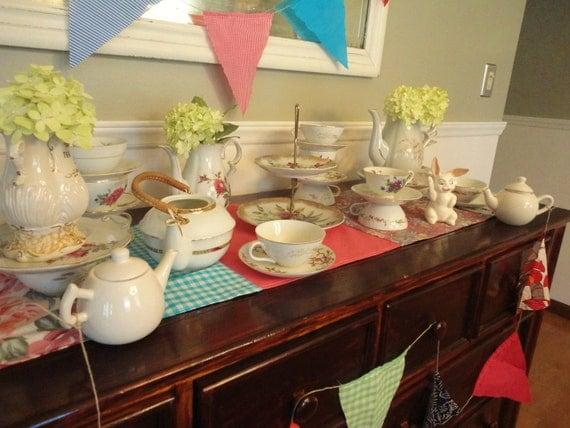 40 Piece Mad Hatter Tea Party Mismatched Tea Set