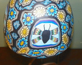 Vintage Millefiori Dragonfly Beetle Bug LAMP Peace Flowers Insect Light desk Happy