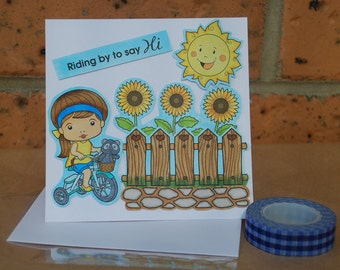 Riding By To Say Hi Card Hello Hi Thinking of You Just Because