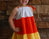 Custom Boutique Girls Clothing Halloween Candy Corn Twirl Dress