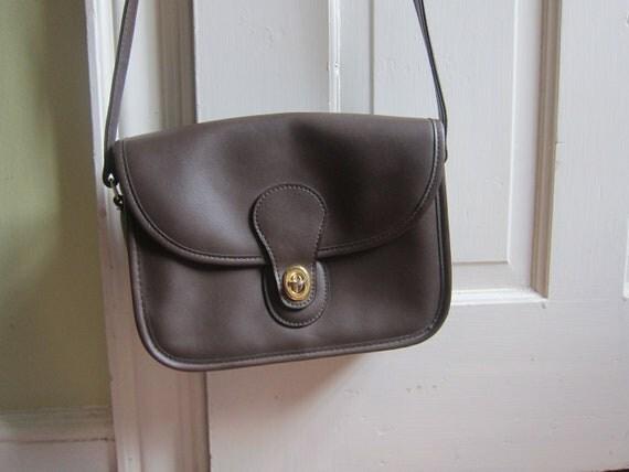 Hip Coach Style Mocha Leather Satchel Purse Cross Body Bag