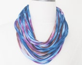 Blue, purple, brown tie dye, upcycled jersey t-shirt scarf