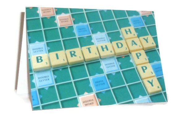 Happy Birthday on a Scrabble Board photographic card.  Printed on semi- gloss card.  A6 size. Blank.