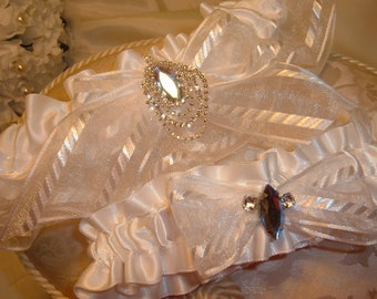 Sale!  White Wedding Garter Set in White with Sapphires and Rhinestones.