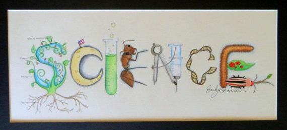 Classroom Decor Etsy ~ Science theme name art sign classroom decor by namelyoriginal