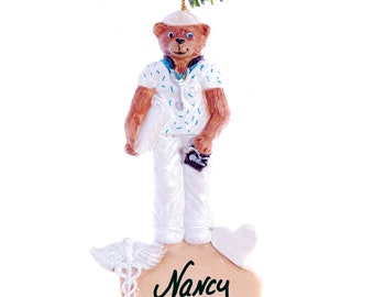 Personalized Christmas Ornament Nurse - Handmade, painted and personalized free.
