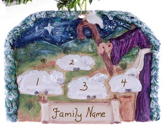 Lamb Christmas ornament personalized family of 4 resin home decor ornament handmade in the USA