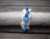 crocheted bracelet creme with jeans blue glass beads one size OOAK