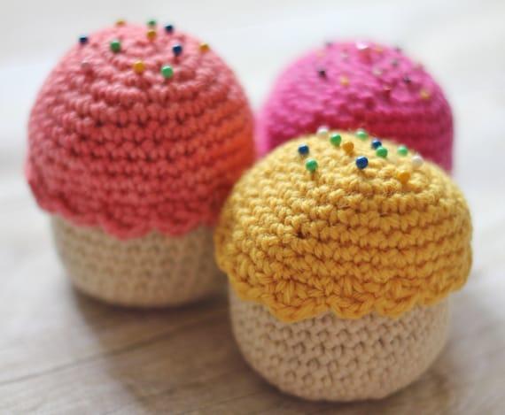 Three Cupcake Pincushions, Hand Crocheted