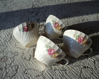 4 Vintage Iron Stone Ironware Tea Cups with A  lovely Floral Bouquet pattern print in Near Mint Condition for coffee or tea