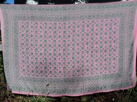 Pink and Green BATIK INDIAN PRINT Tablecloth
