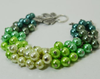 Pearls Cluster Bracelet , Green Ombré Chunky Pearl Bracelet,CLEARANCE- ready to ship