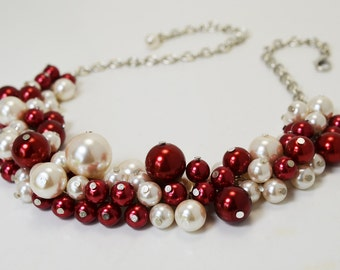 Red and Ivory Pearl Cluster Necklace, Red Bridal Jewelry, Chunky Ivory Pearl Necklace, Ivory Pearl Necklace, Red Pearl Necklace, FREE SHIP
