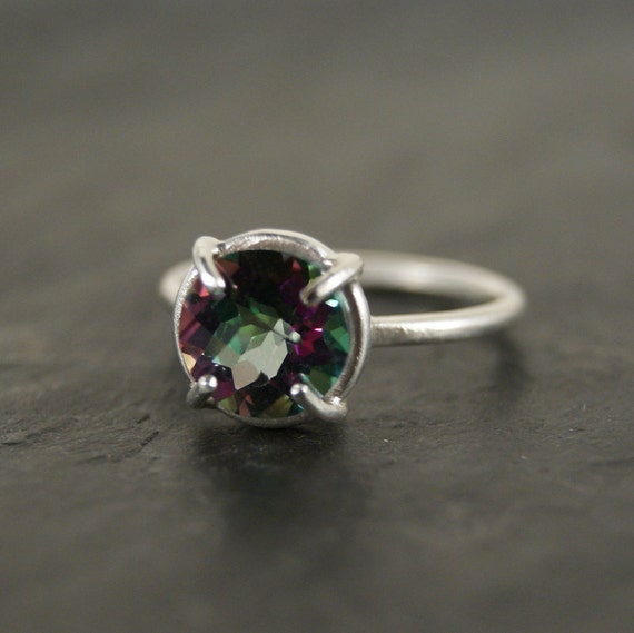 Mystic Topaz Solitaire Ring - Sterling Silver