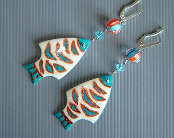 Fishes earrings.  Earrings   from ostrich eggshell .