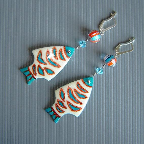 Fishes earrings.  Earrings   from ostrich eggshell .