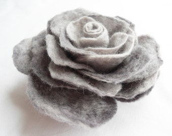 Felt Flower Brooch pin Wool Hair Clip Corsage Grey Gray Silver Rose