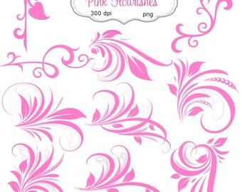 Clip Art:  Pink  Flourishes Swirl  Embellishments   Transparent Png  Files 089