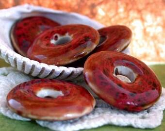 Porcelain Discs, Porcelain Beads, Porcelain Donuts, Ceramic Beads, Ceramic Donuts, Ceramic Discs POR-008