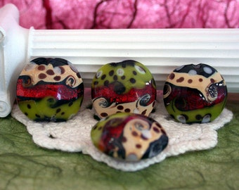 Lampwork Beads, Glass Beads, Lentil Shaped Lampwork Beads GB-012